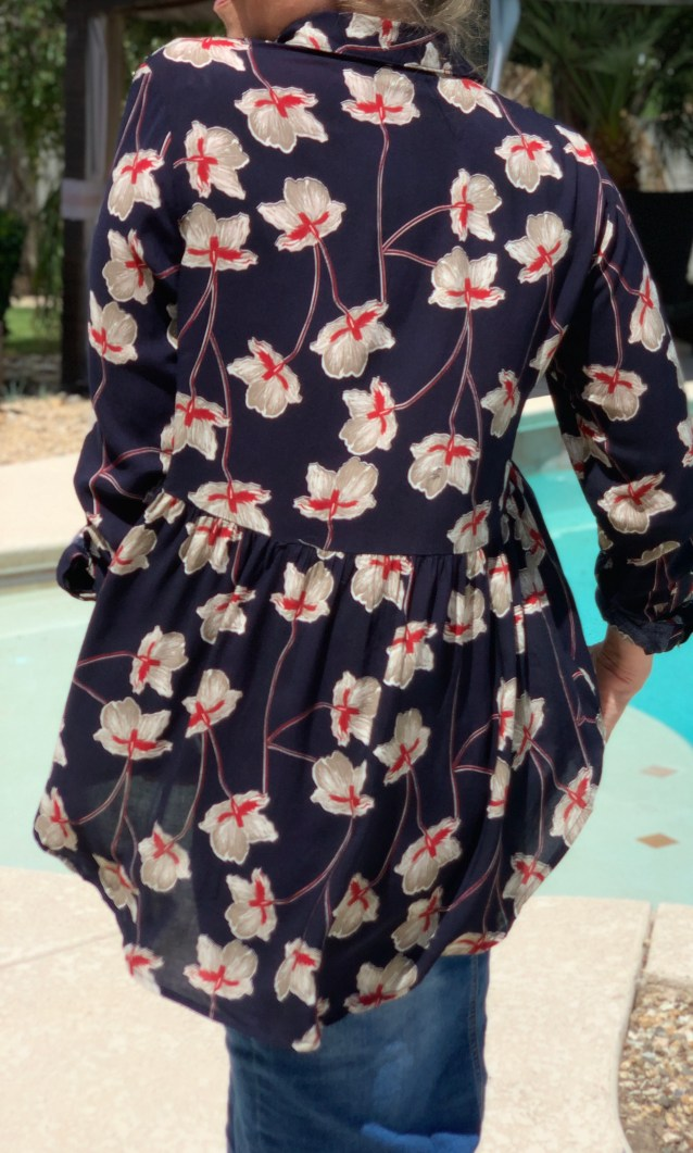 Navy red floral high low tunic