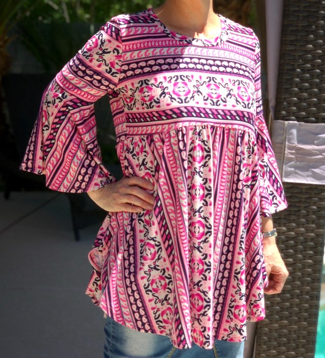 Pink navy high low bell sleeve tunic