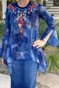 Sheer asymmetrical denim look tunic