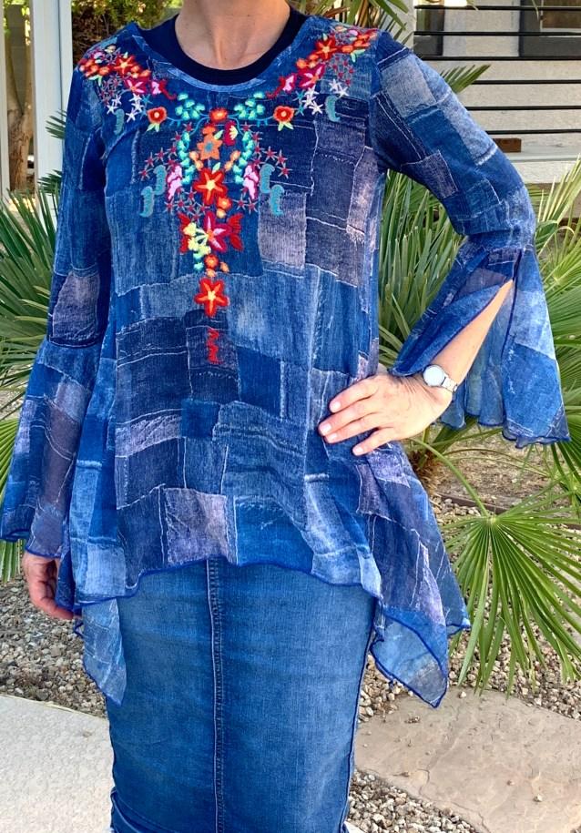 Sheer asymmetrical denim look tunic