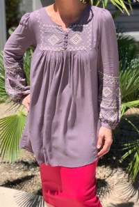 Taupe embroidered tunic