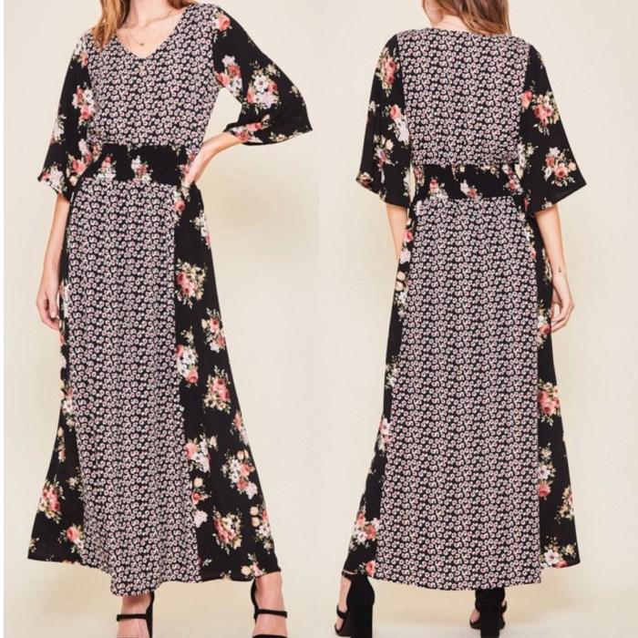 Black floral elastic waist maxi dress