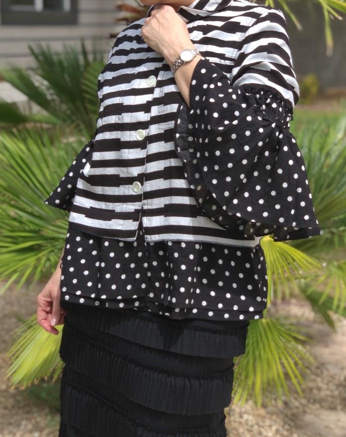 Polka dot bell sleeve black white jacket