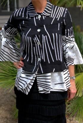 Geometric striped bell sleeve black white jacket