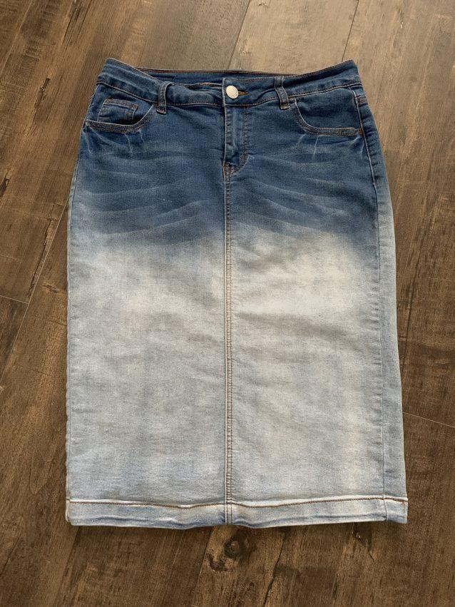 Two tone denim pencil skirt
