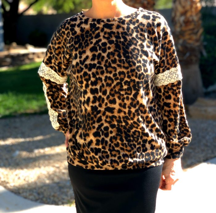 Brown leopard sweater lace tunic