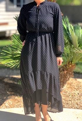Black polka dot hi low long maxi dress