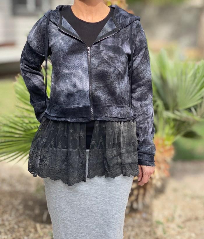 Lace peplum zip up hoodie