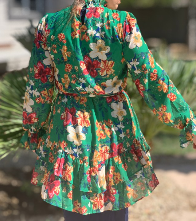 Belted Green floral ruffle tunic