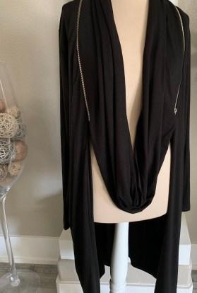 Zippered scarf cardigan