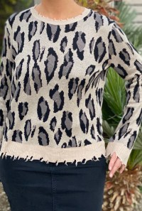 Distressed Taupe leopard sweater