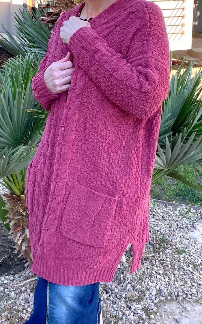 Mauve cable knit cardigan sweater