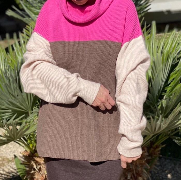 Chunky Pink Brown Sweater