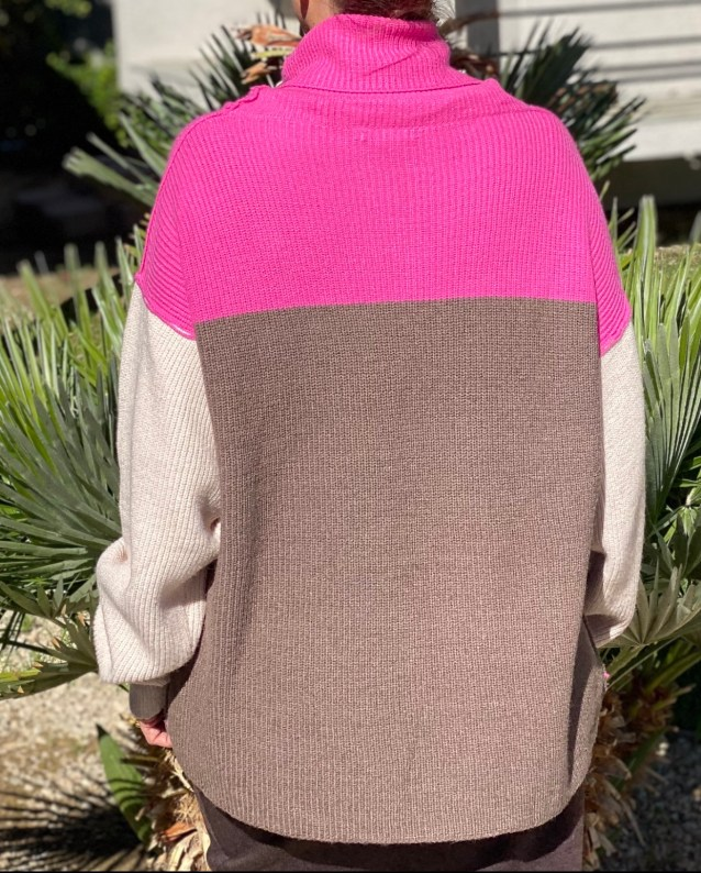 Chunky Pink Brown Sweater