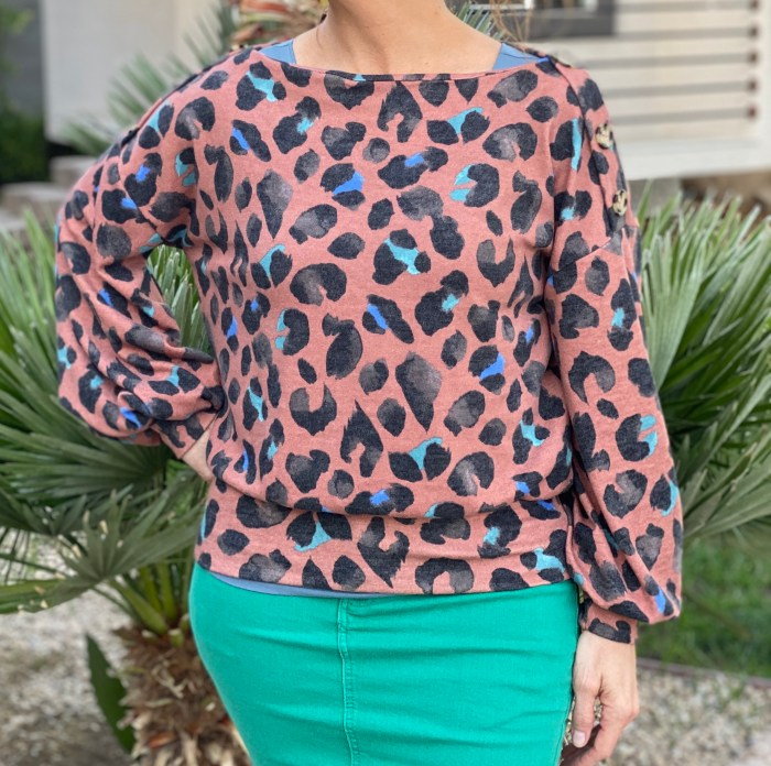Rust boatneck cheetah sweater with buttons
