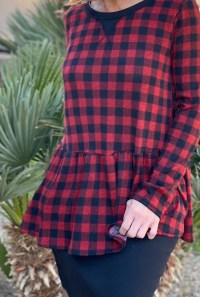 Plaid peplum brushed top