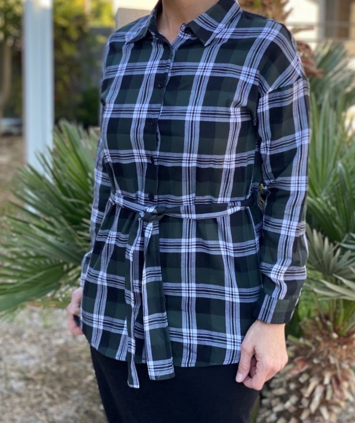 Olive Plaid Tunic Shirt With Belt