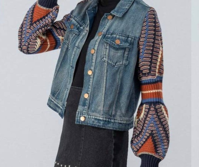 Jacket With Puff Tribal Sweater Sleeves