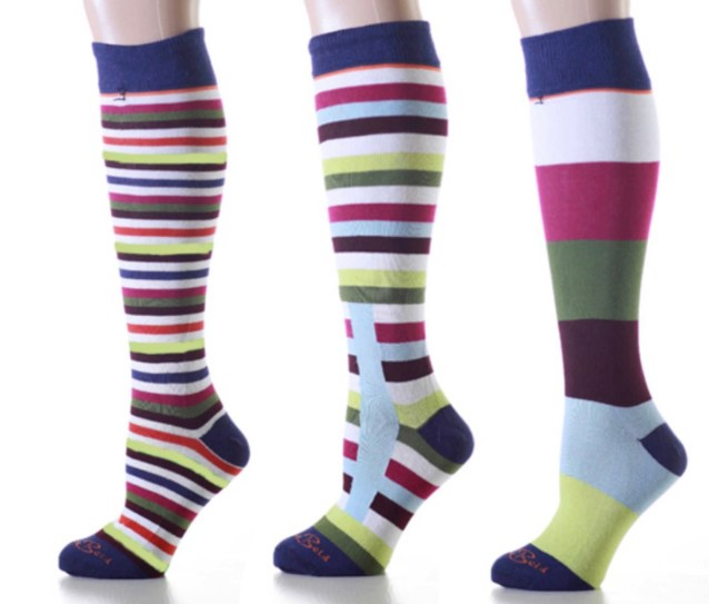 Mismatched Burgundy Stripes Knee High Socks