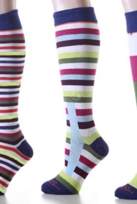 Mismatched Burgundy Stripes Knee High Socks