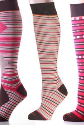 Mismatched Pink Stripes & Argyle Knee High Socks