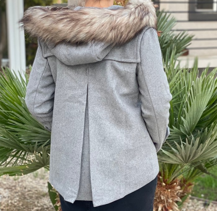 Gray Faux Fur Hooded Wool Jacket