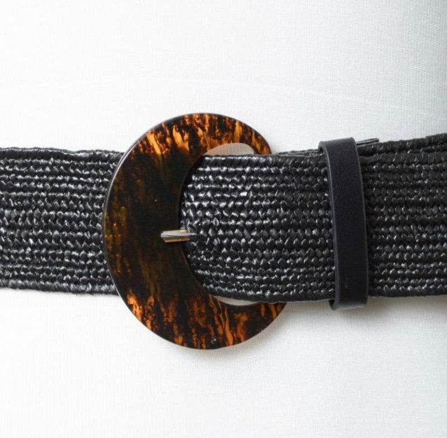 Basketweave Stretch Cinch Belt - Black
