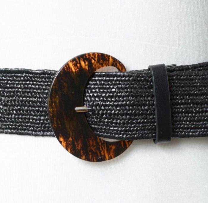 Basketweave Stretch Cinch Belt - Black