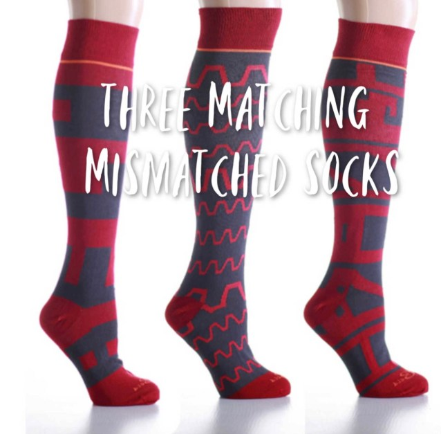 Mismatched Cranberry Abstract Knee High Socks