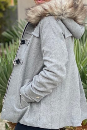 Gray Faux Fur Hooded Wool Jacket
