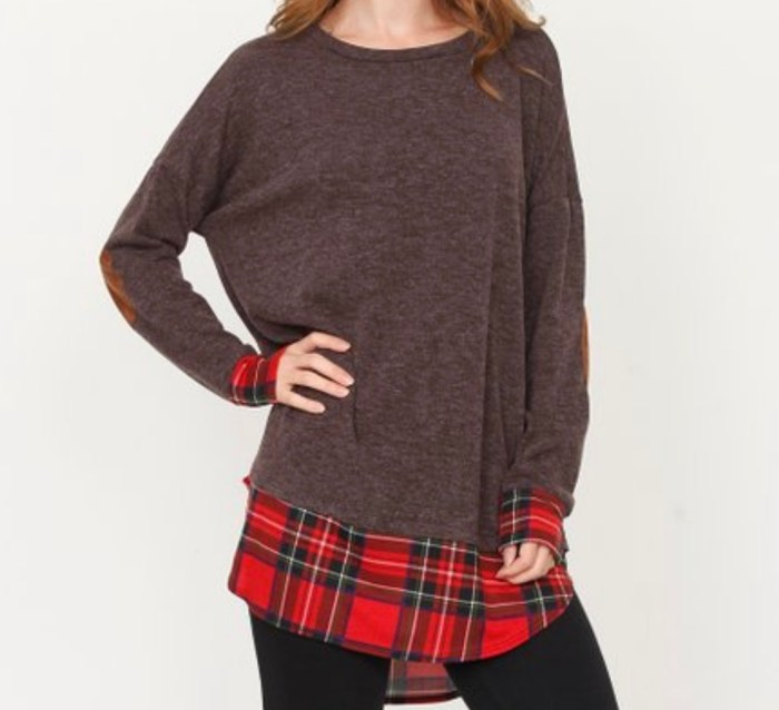 Brown Plaid Elbow Patch Tunic