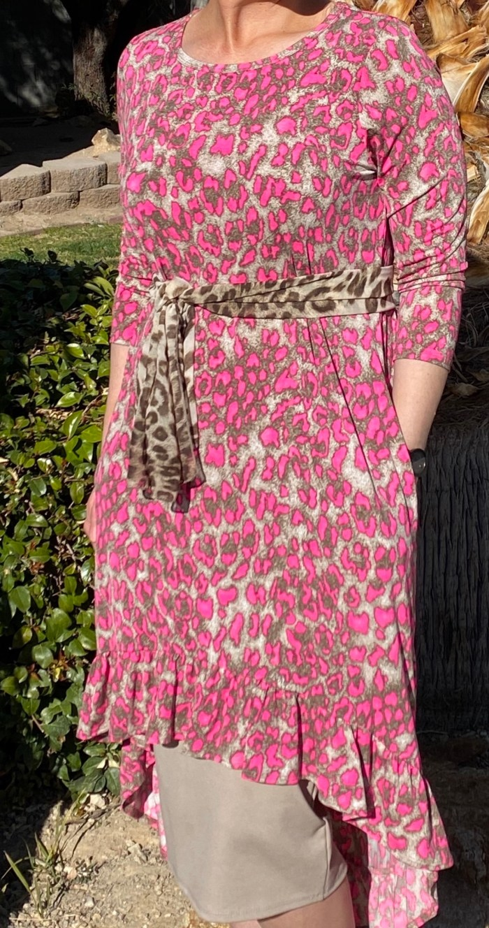 Pink Cheetah Hi Low Ruffle Tunic