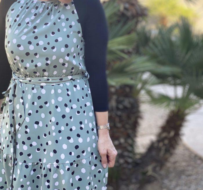 Green Polka Dot High Low Maxi Dress