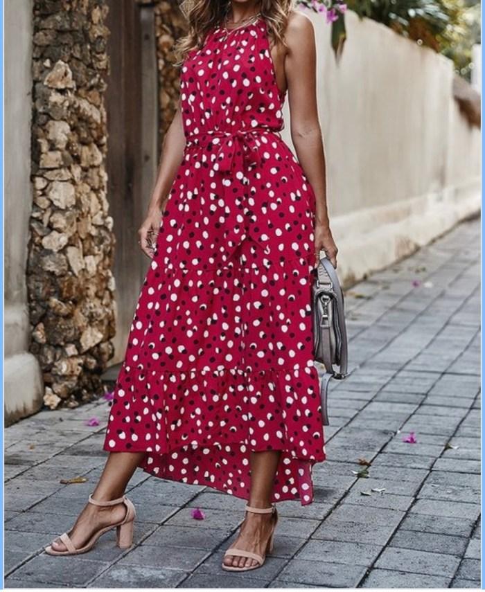 Red Polka Dot High Low Maxi Dress