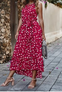 Red Polka Dot High Low Maxi Dress