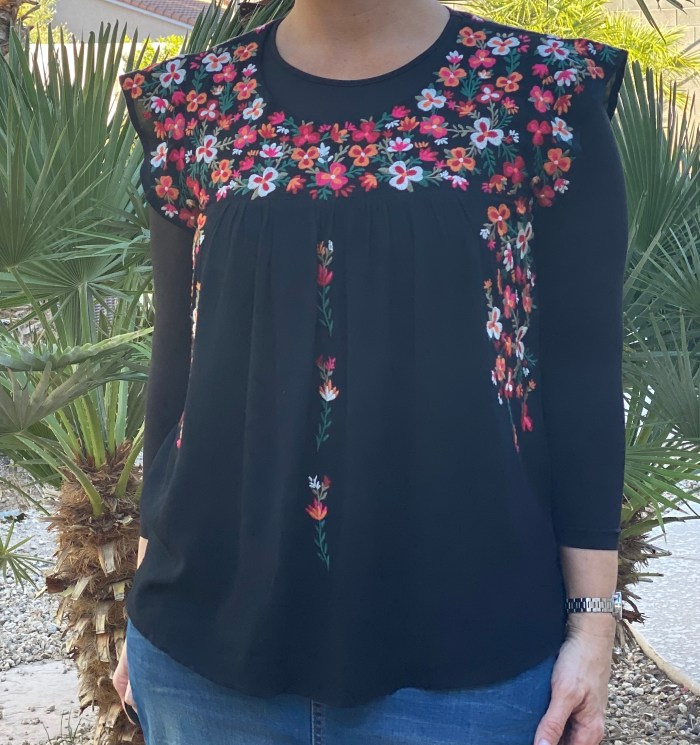 Embroidered Floral Black Blouse