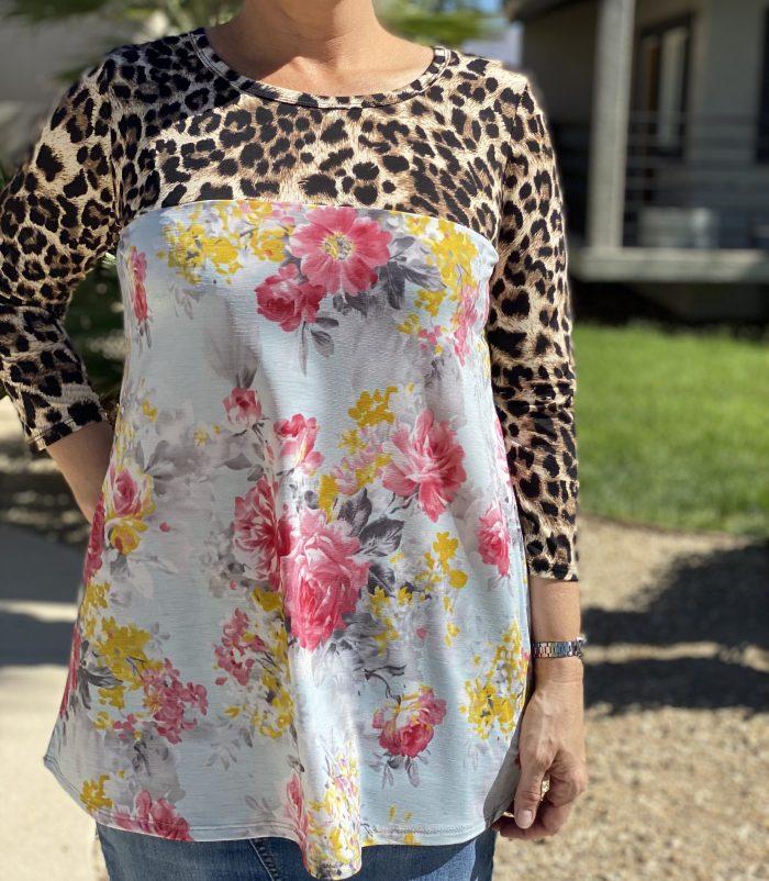 Leopard Floral Print Top