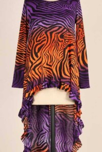 Purple Orange Hi Low Ruffle Tunic