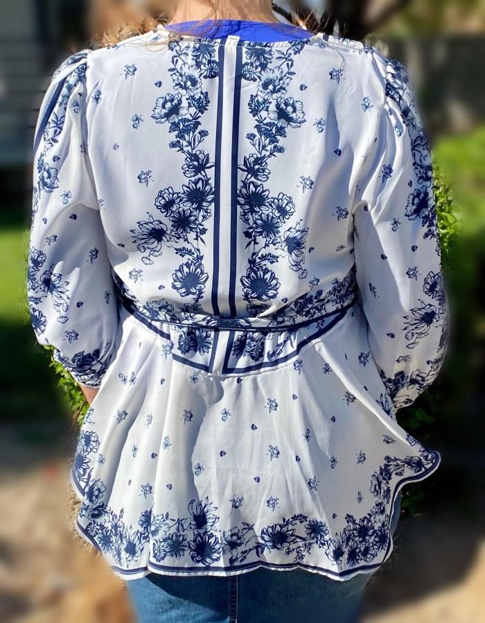 blue peplum tie tunic