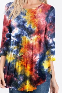 Multi Tie Dye High Low Tunic
