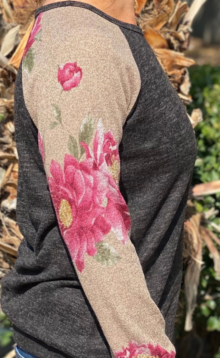 Long Sleeve Floral Contrast Top