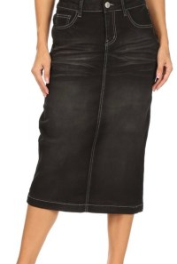 Black Wash Stretch Twill Skirt