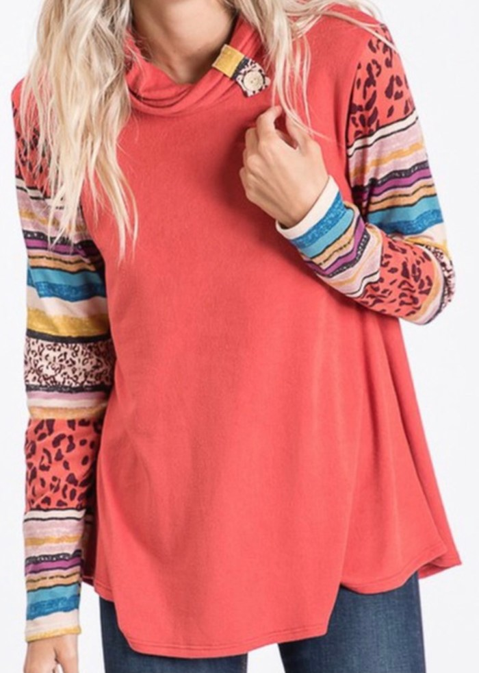 Cowl neck patchwork swing tunic