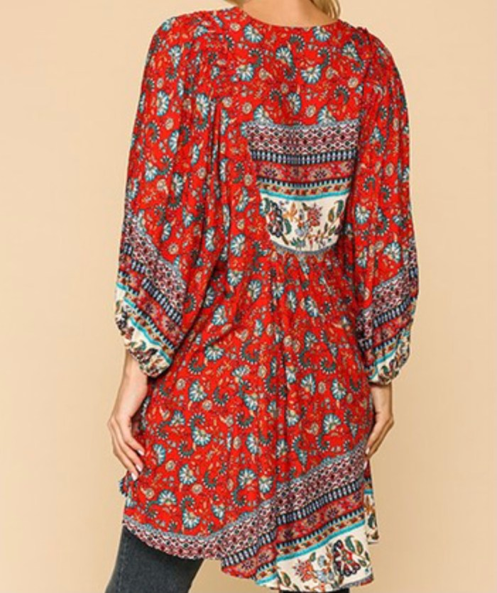 orange red bohemian tunic top