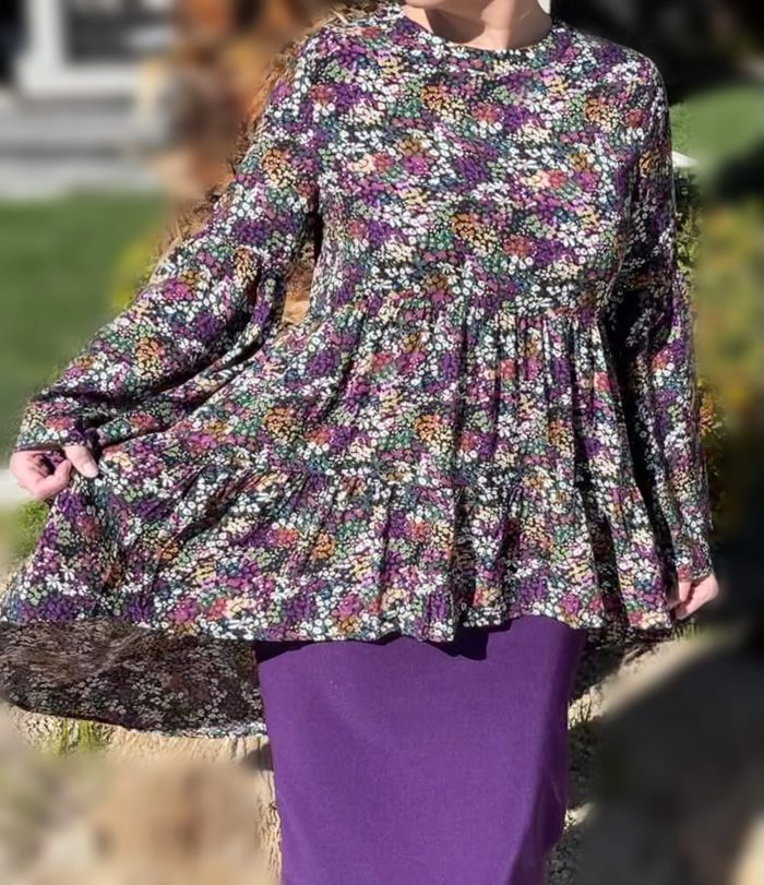 purple floral hi low tunic