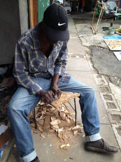 This woodcarver did custom orders and was very friendly while he worked.
