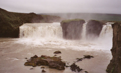 """Goðafoss, which means """"Waterfall of the Gods."""" It is said that when Iceland converted to Christianity, one of the leaders threw all of the pagan idols into this waterfall as a sign of faith."""