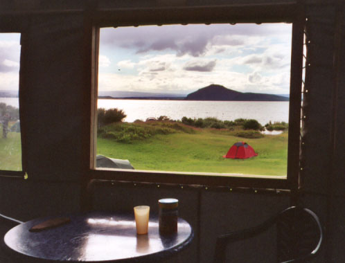 The campsite had a common kitchen area for campers to use, and not a bad view at all.