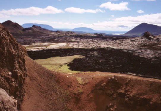 Back to work! The footpaths through these lava flows needed some work, and again we answered the call. The black lava in this photo is the most recent flow in Iceland- about ten years old.