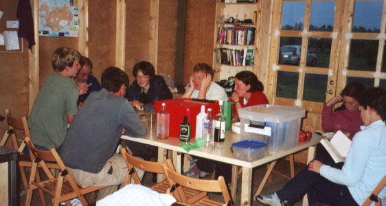 The volunteers even have a little hut to use for food preparation, cards, revelry, and drying our rain-soaked clothes.